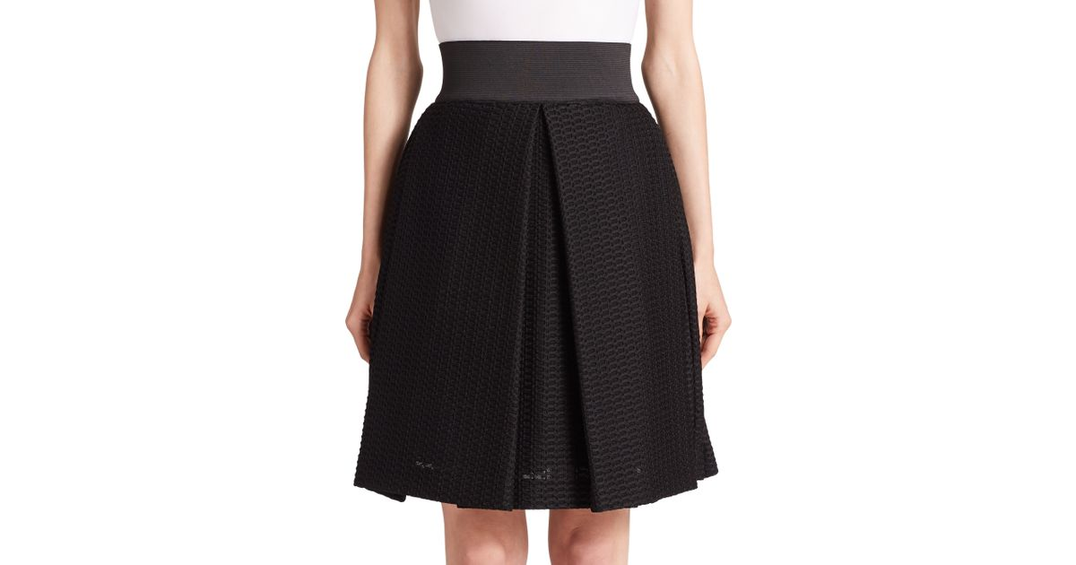 eb738efbf MILLY Honeycomb Tech Bubble Skirt in Black - Lyst