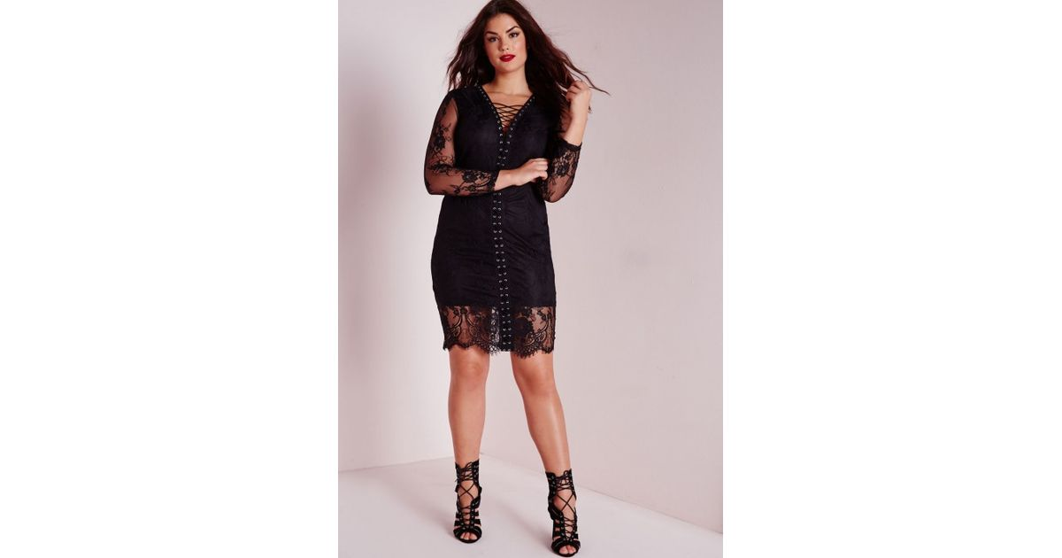 Lyst Missguided Plus Size Lace Tie Up Midi Dress Black In Black