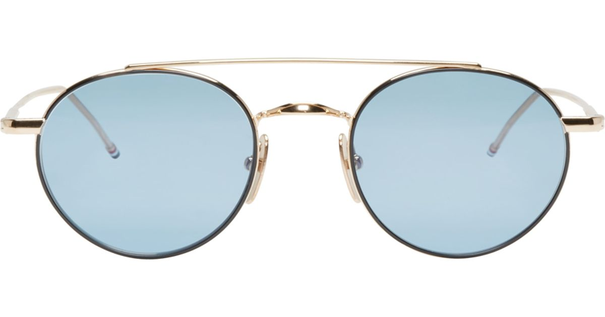 5a99641ed64 Lyst - Thom Browne Blue And Gold Tb-101 Sunglasses in Blue for Men