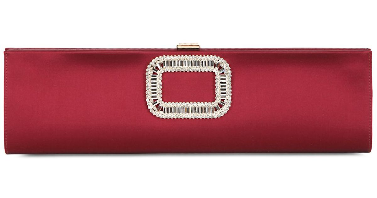 577ec09740 Lyst - Roger Vivier Tube Swarovski   Silk Satin Clutch in Red