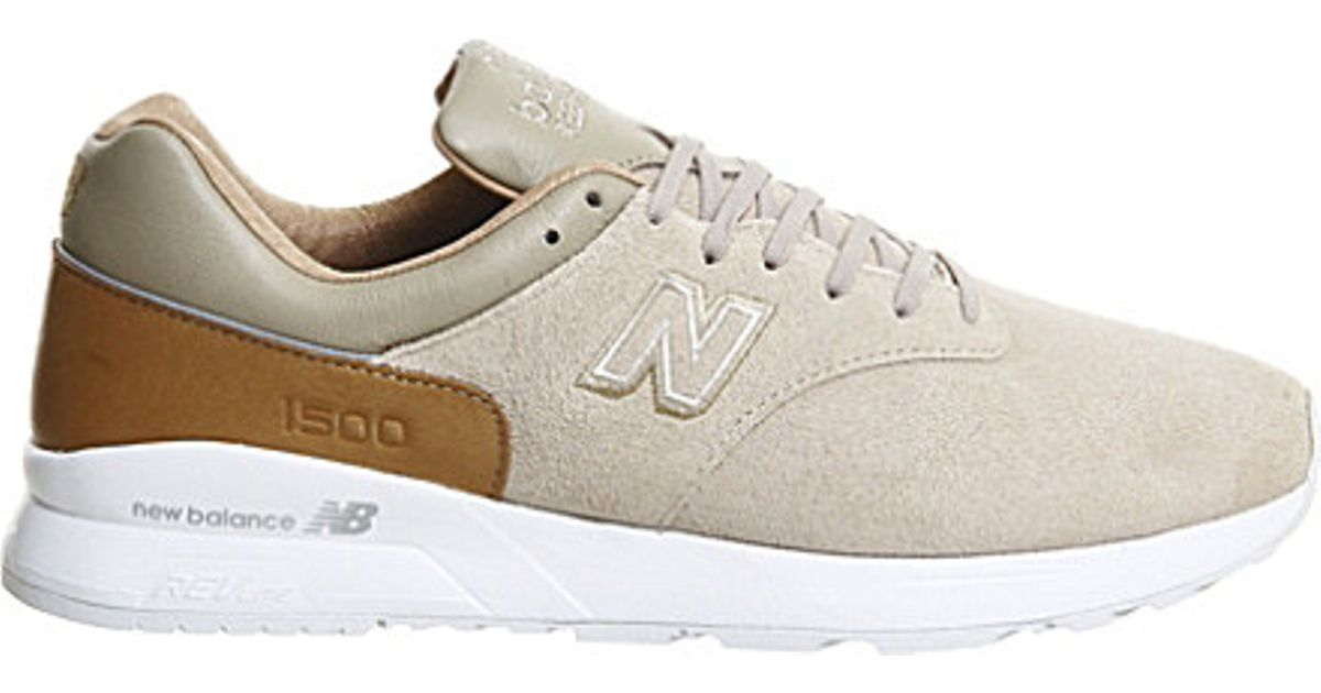 b5facc5c844c ... get new balance md1500 suede and leather trainers in natural for men  lyst 4ae39 ada99