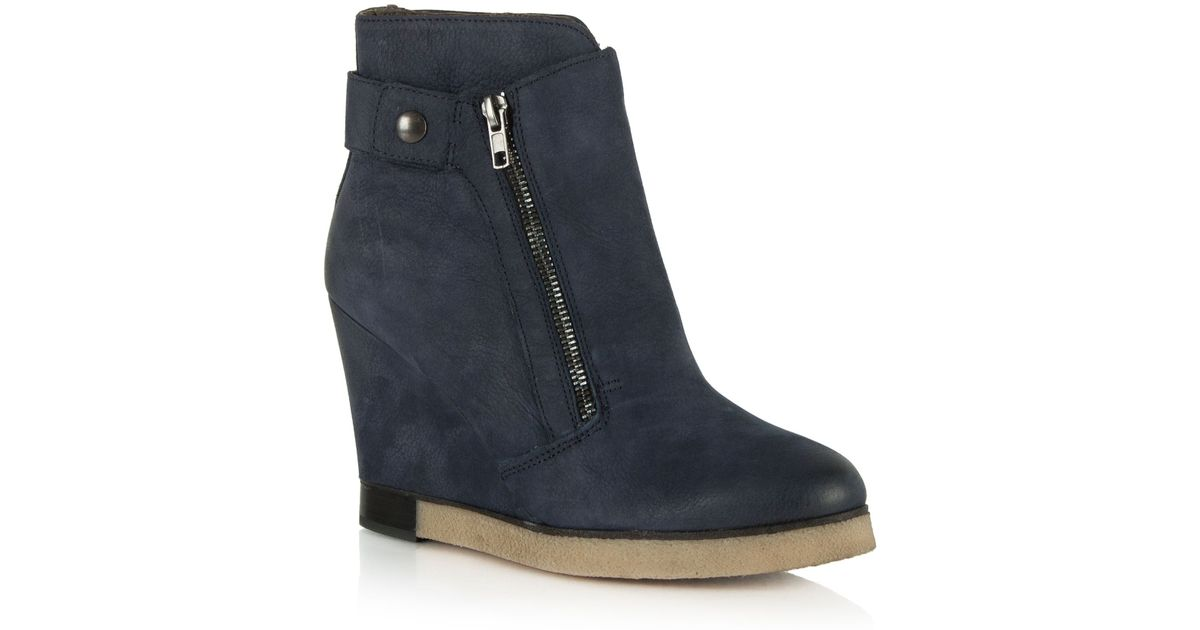 daniel adorable two zip wedge ankle boots in blue lyst