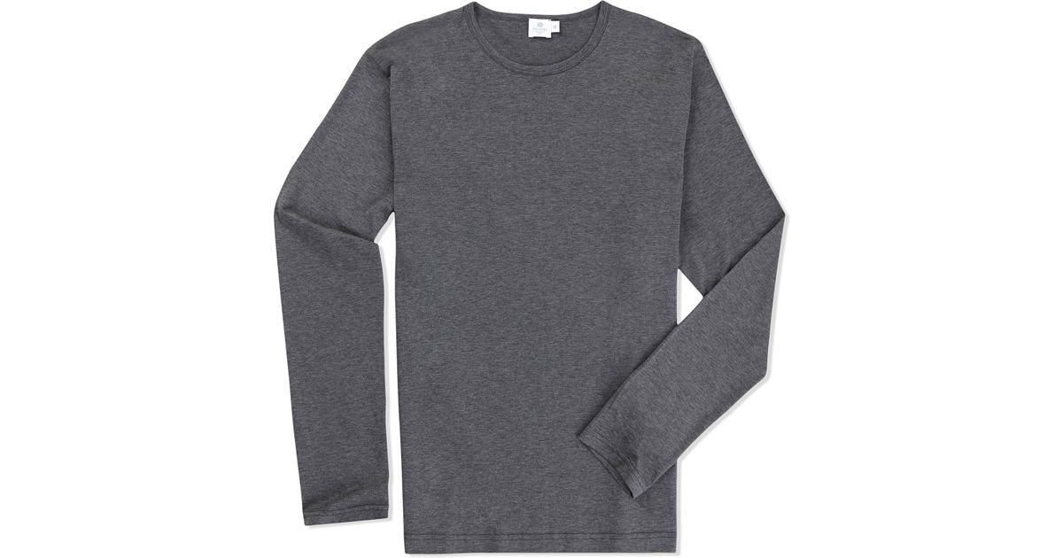 Sunspel Long Sleeve Crew Neck T-shirt in Gray for Men | Lyst