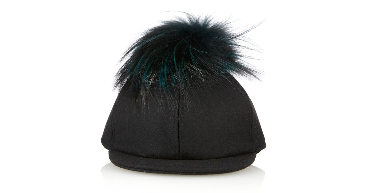 31dad1e10fb Fendi Fur Pompom Baseball Cap in Black - Lyst