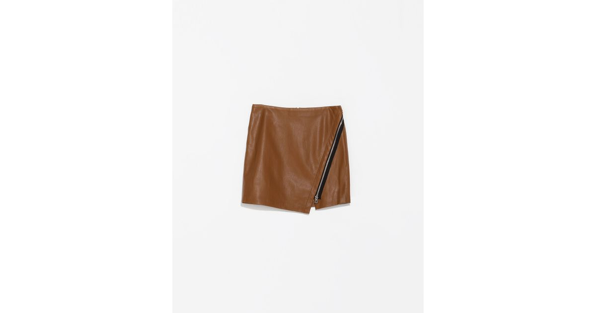 zara faux leather skirt with zip in brown lyst