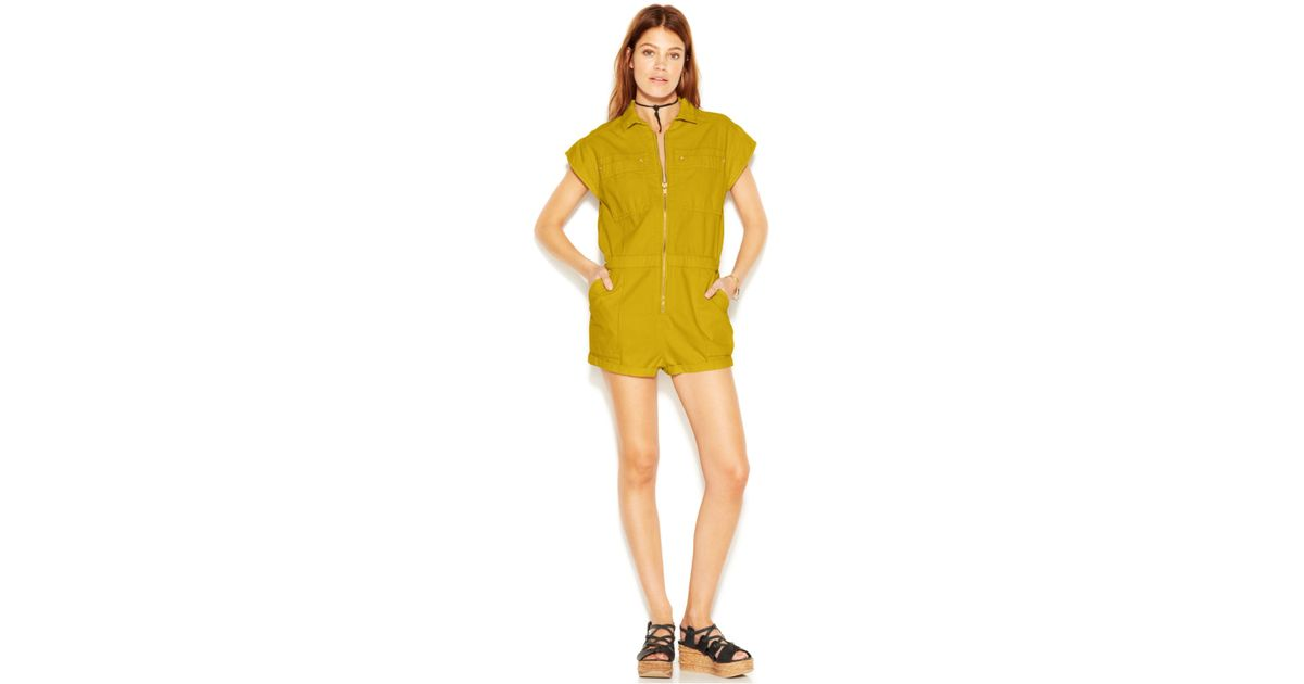 c8aebae5d66 Lyst - Free People Cap-Sleeve Point-Collar Vintage Chambray Parachute Romper  in Green