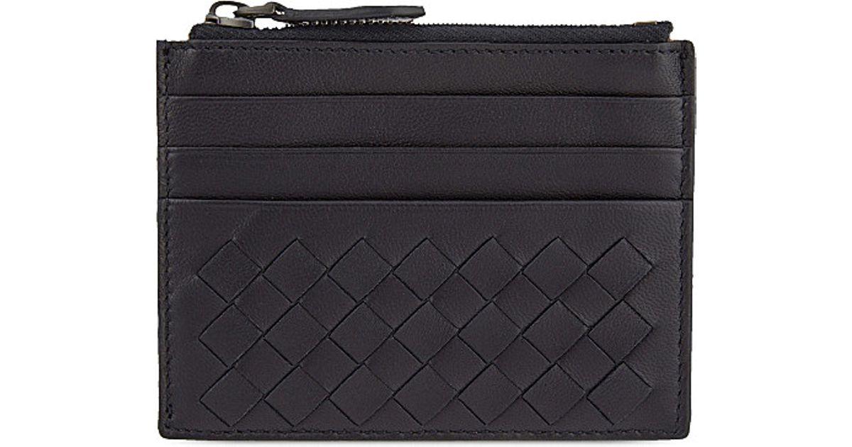 db3c5f9af819f Bottega Veneta Zip Top Leather Card Holder in Blue - Lyst