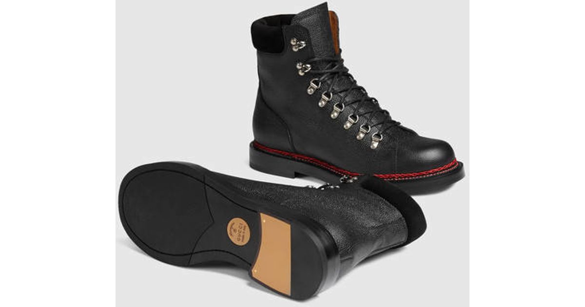 29975bb5f Gucci Leather Trekking Boot in Black for Men - Lyst