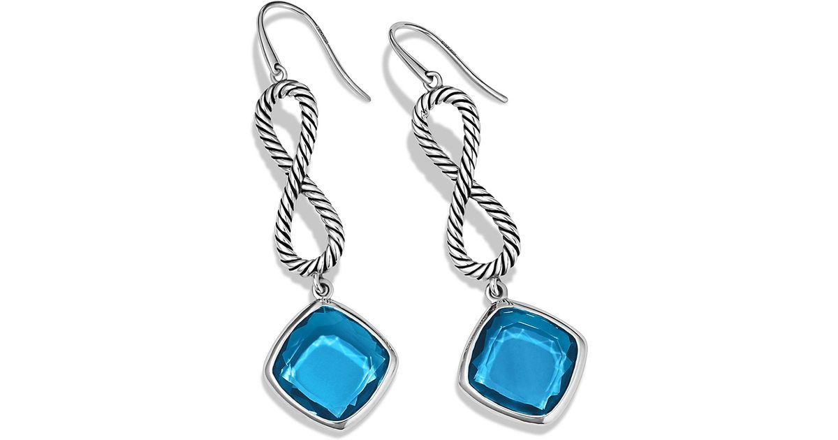 Lyst David Yurman Confetti Figureeight Drop Earrings With Blue Topaz In Metallic