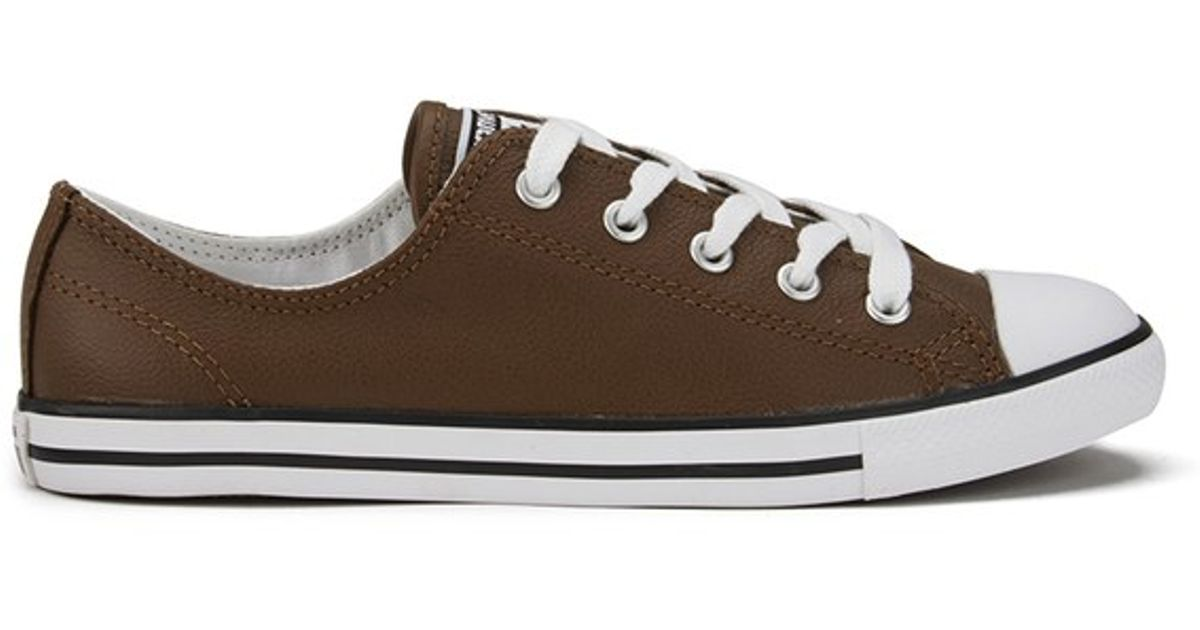 0a27a1b5c65e ... clearance converse womens chuck taylor all star dainty seasonal leather  ox trainers in brown lyst af22c