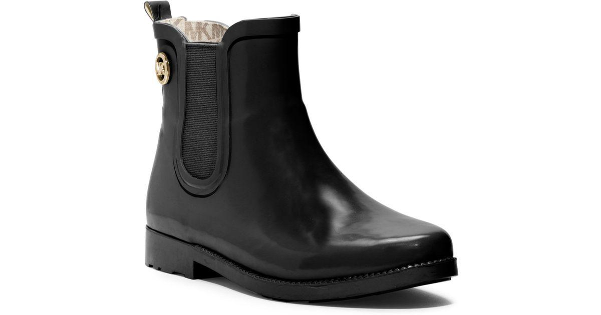 Michael kors Short Rubber Rain Boot in Black | Lyst