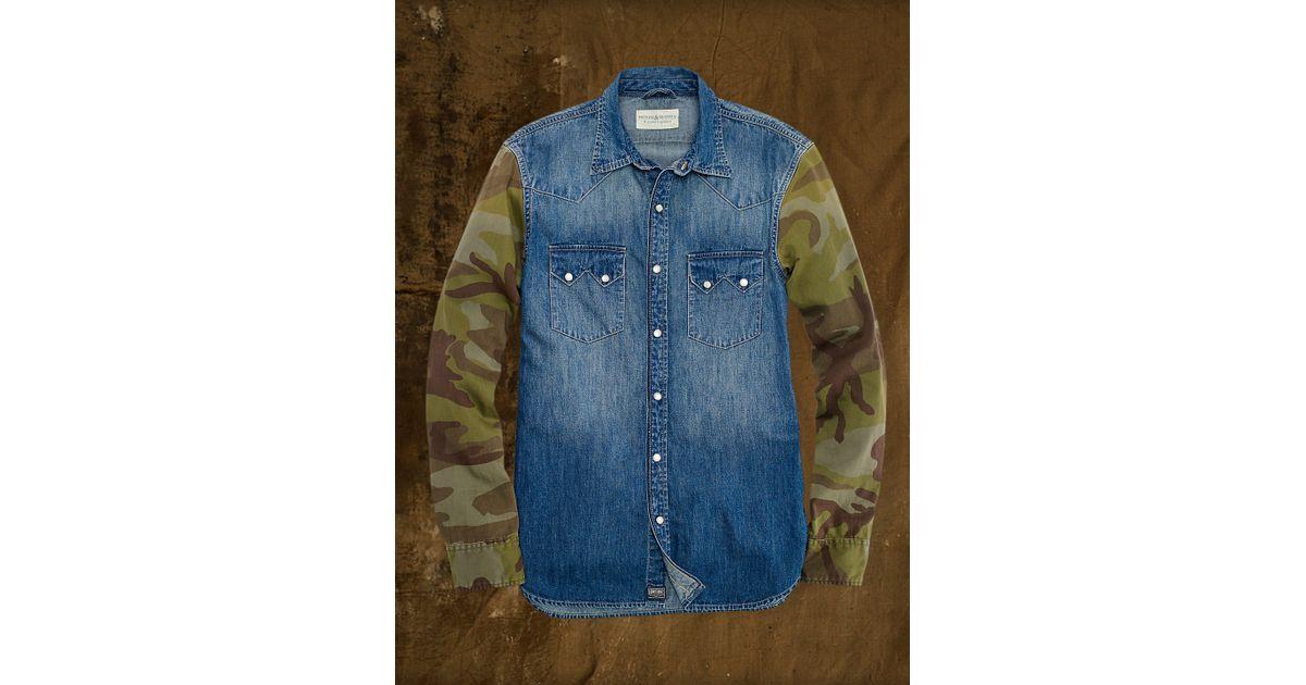 27c751f16b Lyst - Denim   Supply Ralph Lauren Camo-sleeved Western Shirt in Blue for  Men
