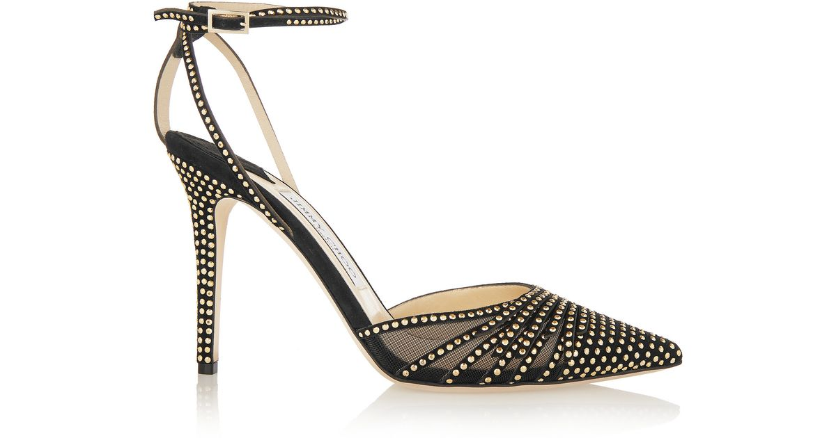 Lyst - Jimmy Choo Kizzy Mesh-paneled Studded Suede Pumps in Black 6864c7173bc
