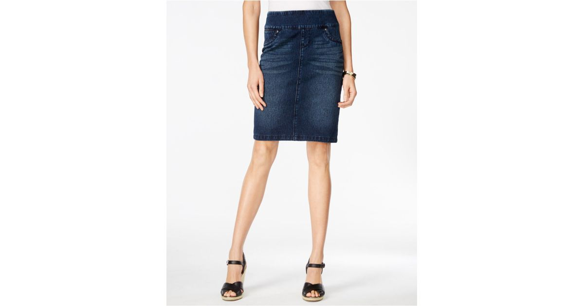 style co pull on wash knit denim skirt only at