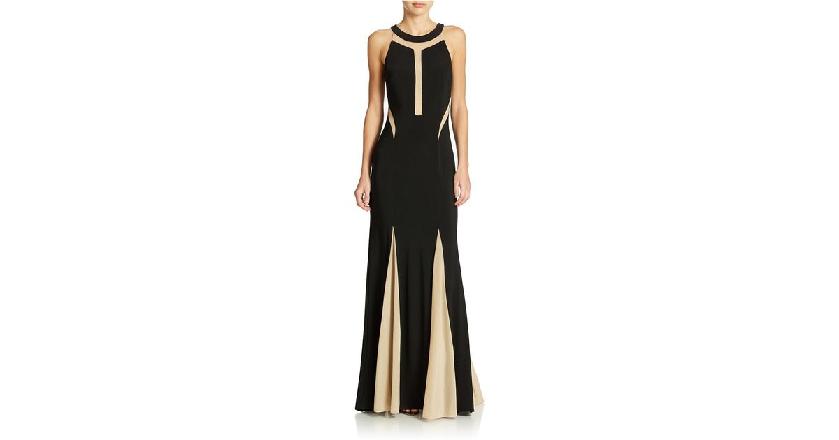 Lyst - Xscape Illusion Panel Pleated Halter Gown in Black