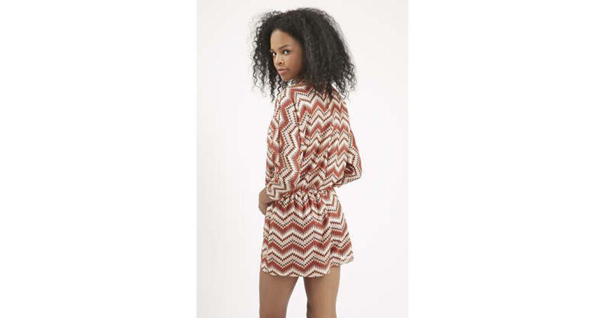 07229af854 Lyst - TOPSHOP Crochet Playsuit in Brown