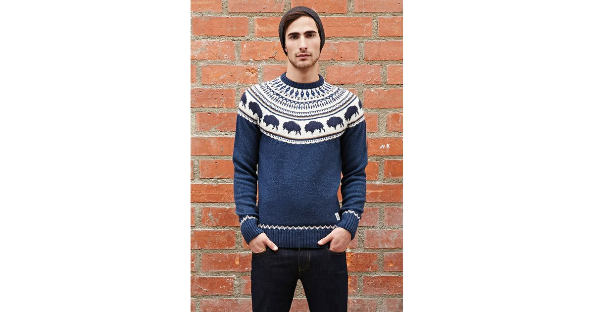 Forever 21 Bellfield Bison Fair Isle Sweater in Blue for Men | Lyst