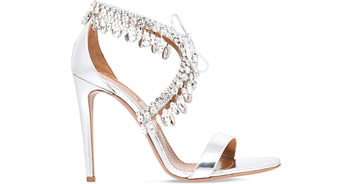 Aquazzura Jewel-Embellished Leather Sandals