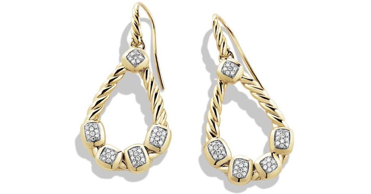 Lyst David Yurman Confetti Drop Earrings With Diamonds In Gold Metallic