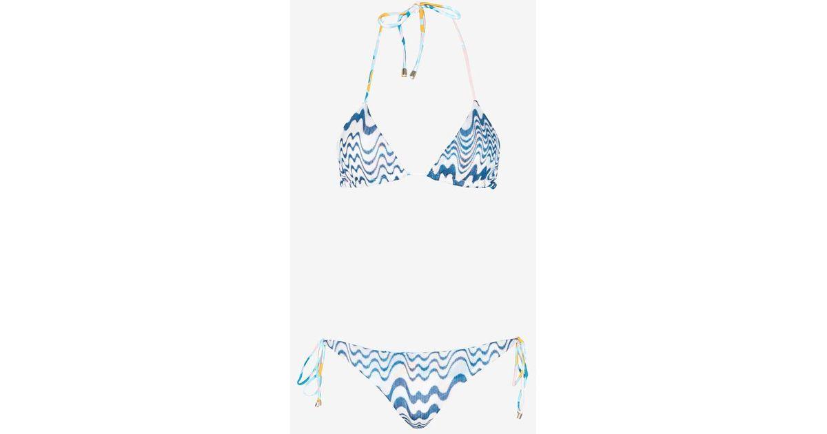 Missoni Pattern Knit Triangle Bikini Blue Wave Final Sale Lyst