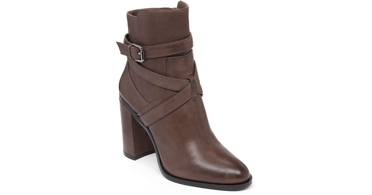vince camuto gravell leather ankle boots in gray lyst