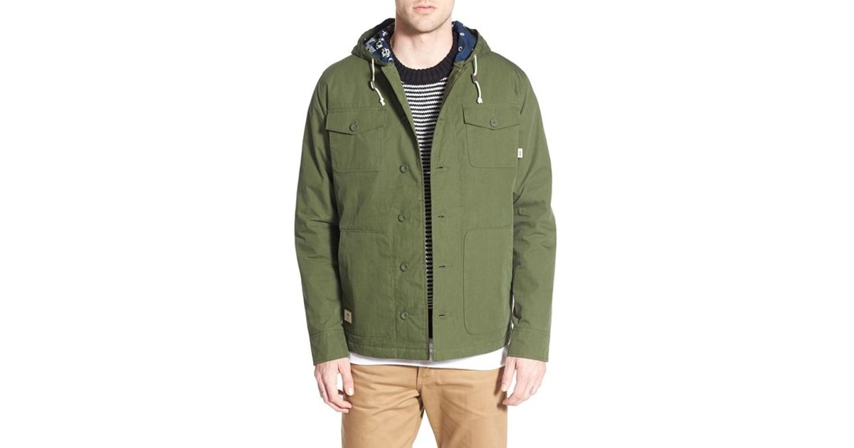 4e94f154e881a4 Lyst - Vans  lismore Deluxe  Water Resistant Hooded Jacket in Green for Men