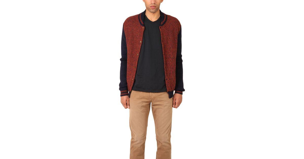 Monsieur lacenaire Knitted Varsity Jacket in Brown for Men Lyst