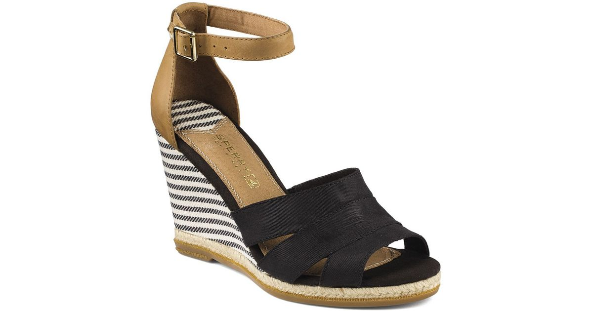 b9fe1b3ec Lyst - Sperry Top-Sider Wedge Sandals - Skye Grosgrain High Heel in Black