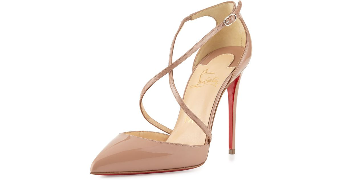 630ff6a97880 Lyst - Christian Louboutin Cross Blake 100mm Patent Red Sole Pump in Natural