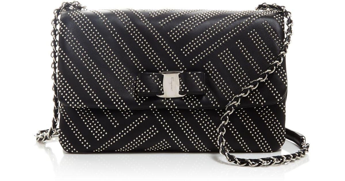 ... Lyst - Ferragamo Gelly Medium Stud Shoulder Bag in Black official  photos 5fa40 48f49 ... 807829fb3a5cb