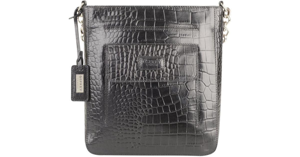f178db508f Osprey London Womens Carapace Croc Leather Cross Body Bag in Black - Lyst