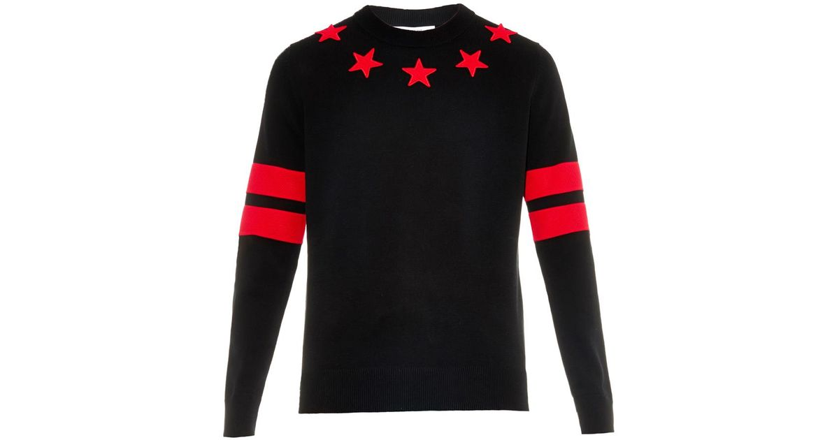Lyst - Givenchy Star And Stripes Cotton Sweater in Red for Men 88bc4d28cc66