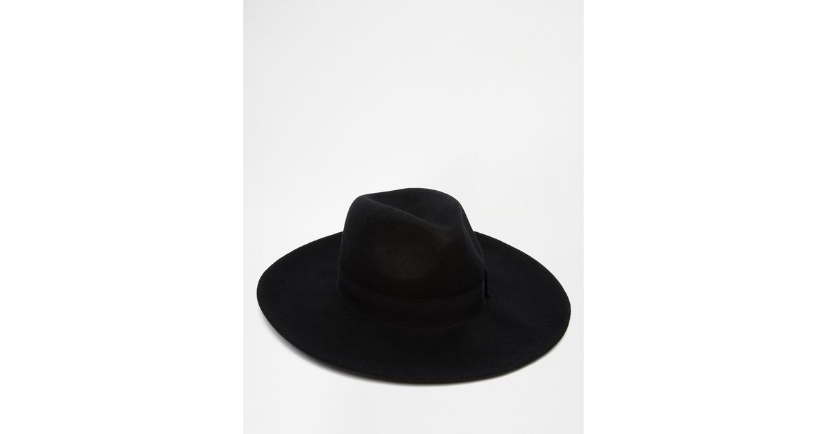 a3afd78375fa41 ASOS Fedora Hat In Black Felt With Wide Brim in Black for Men - Lyst