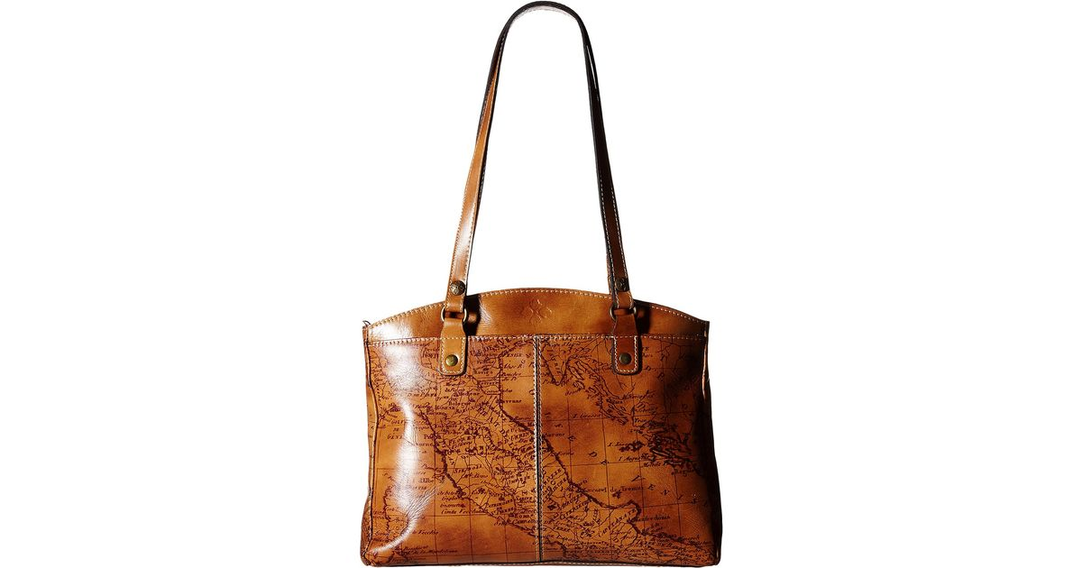 Patricia nash Signature Map Poppy Satchel in Brown | Lyst