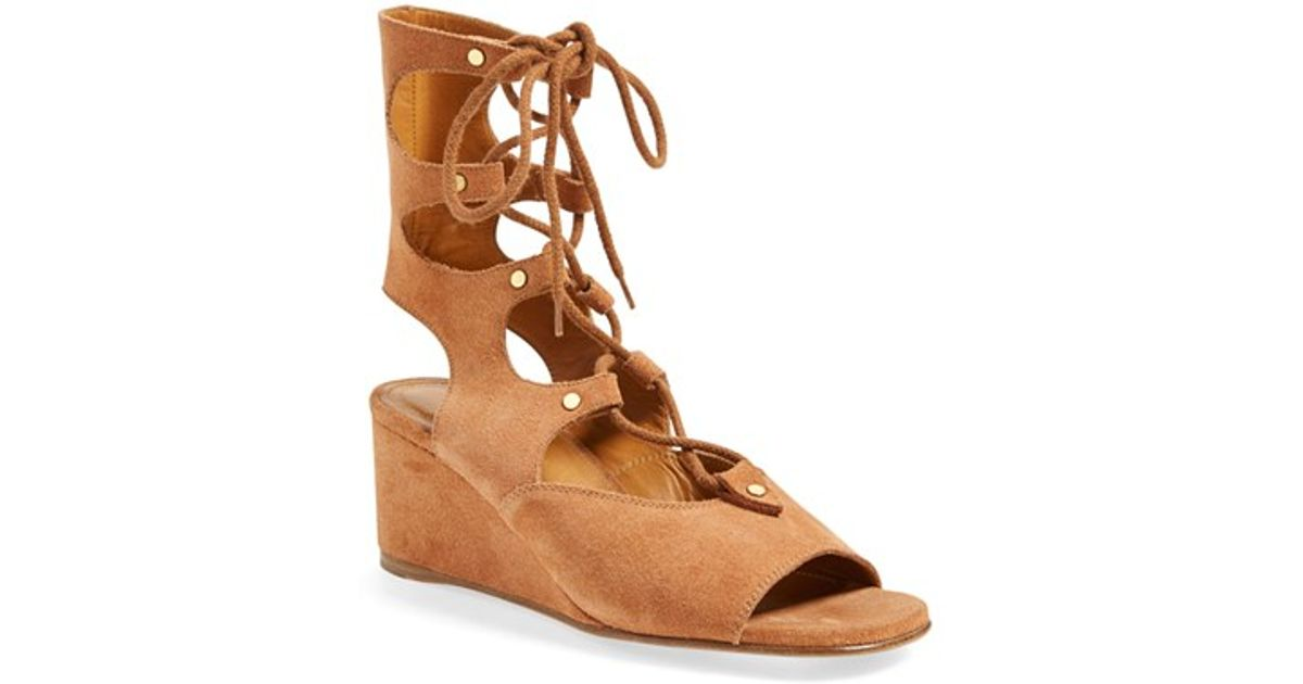 Lyst Chlo 233 Foster Suede Wedge Gladiator Sandal In Natural