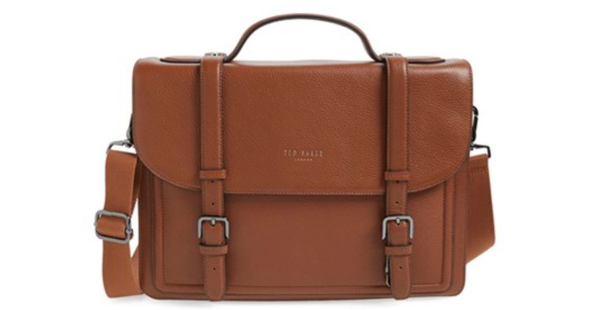 1f6052363b8552 Lyst - Ted Baker  jagala  Pebbled Leather Messenger Bag in Brown for Men