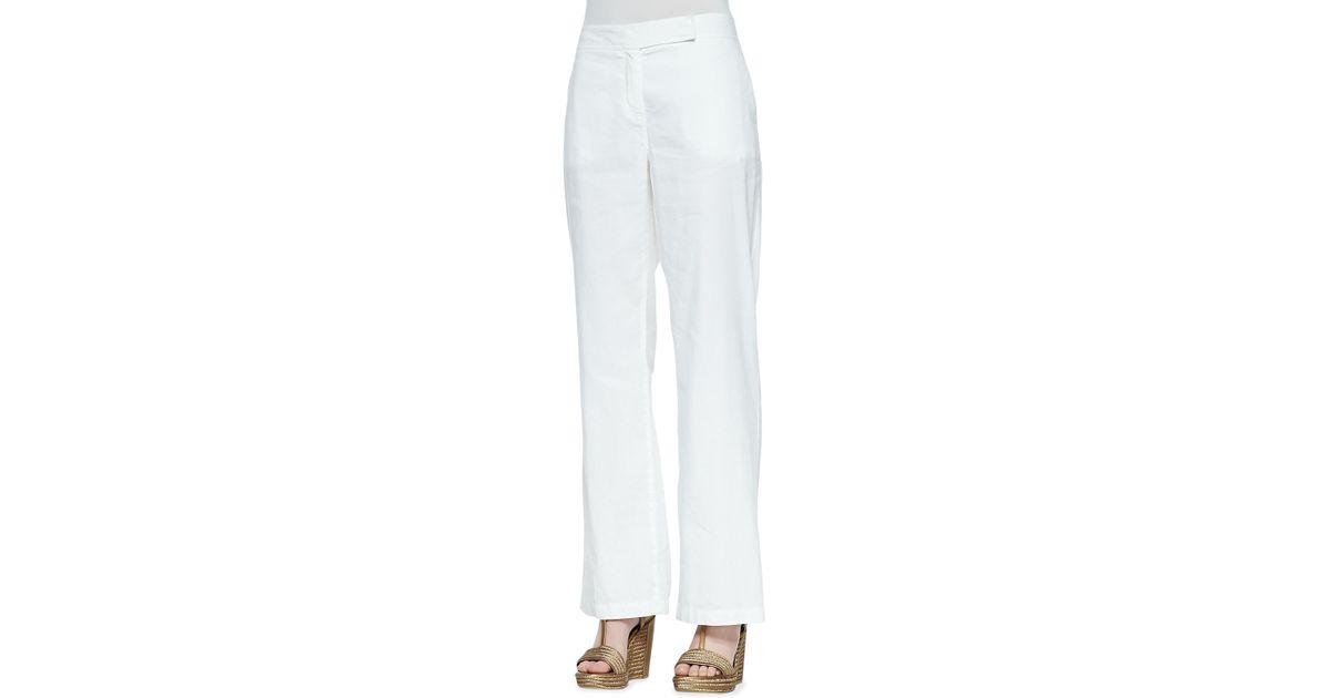 00e60dfe62 Lyst - Eileen Fisher Linen-Blend Straight-Leg Trousers in White