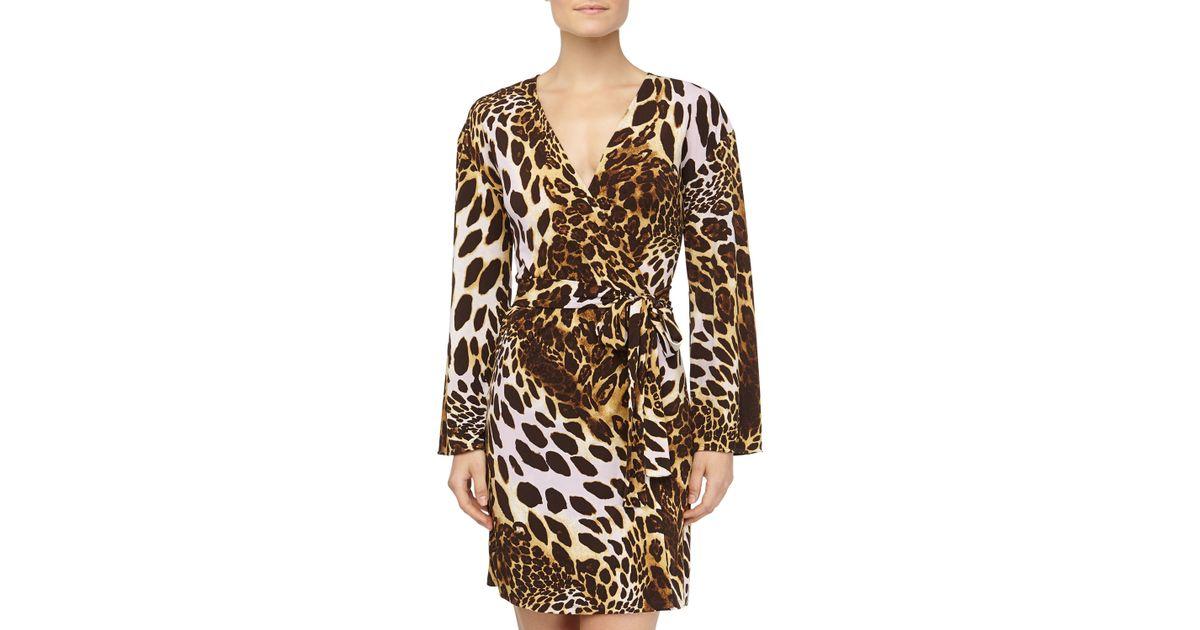 252e8ad5666a Natori Leopard Print Slinky Jersey Wrap Robe - Lyst