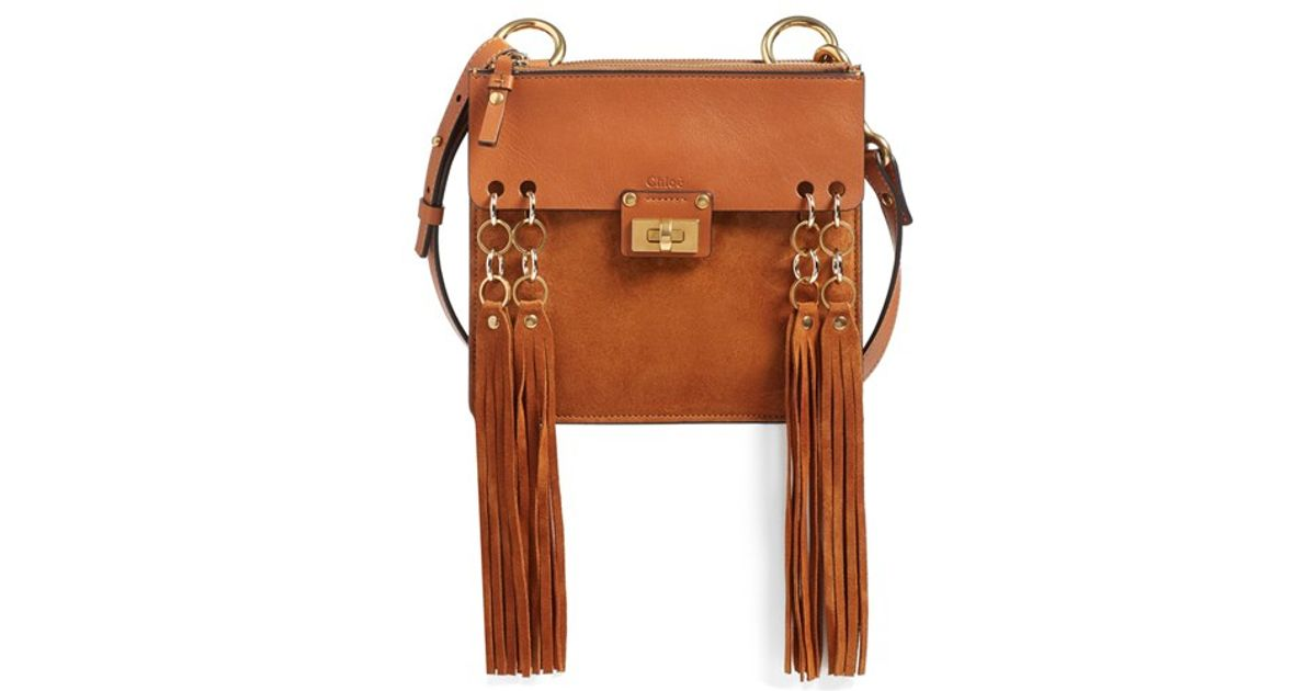 purses chloe - Chlo�� 'jane' Fringe Calfskin Suede Crossbody Bag in Brown | Lyst