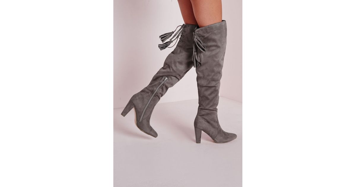 e7f24d61814 Lyst - Missguided Heeled Knee High Tie Back Boots Grey in Gray