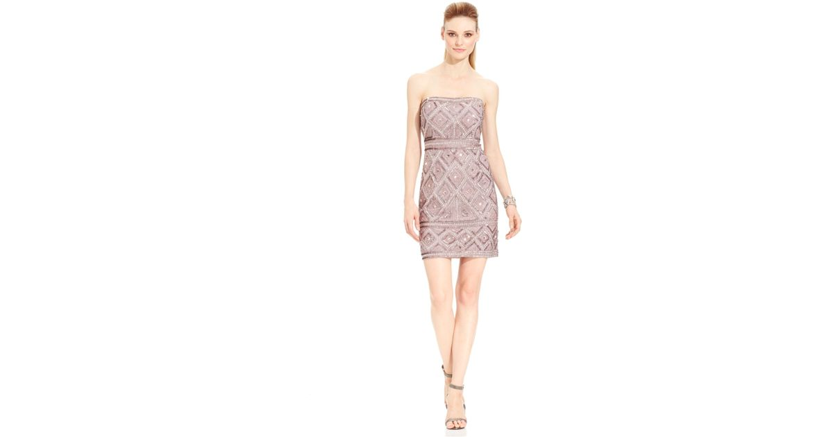 84e864492fcd2 Adrianna Papell Strapless Beaded Shift Dress in Brown - Lyst