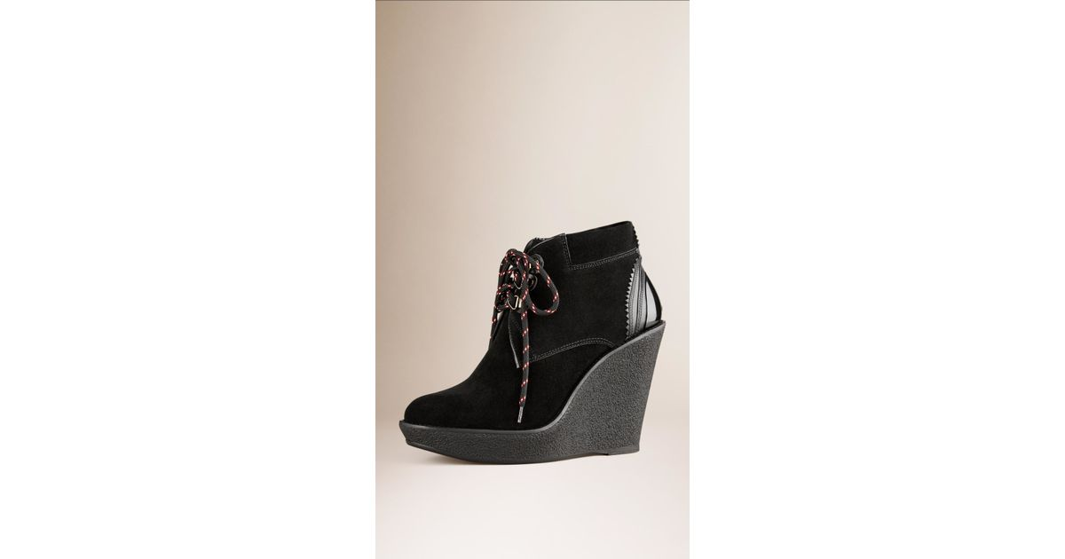 burberry lace up suede wedge ankle boots in black lyst