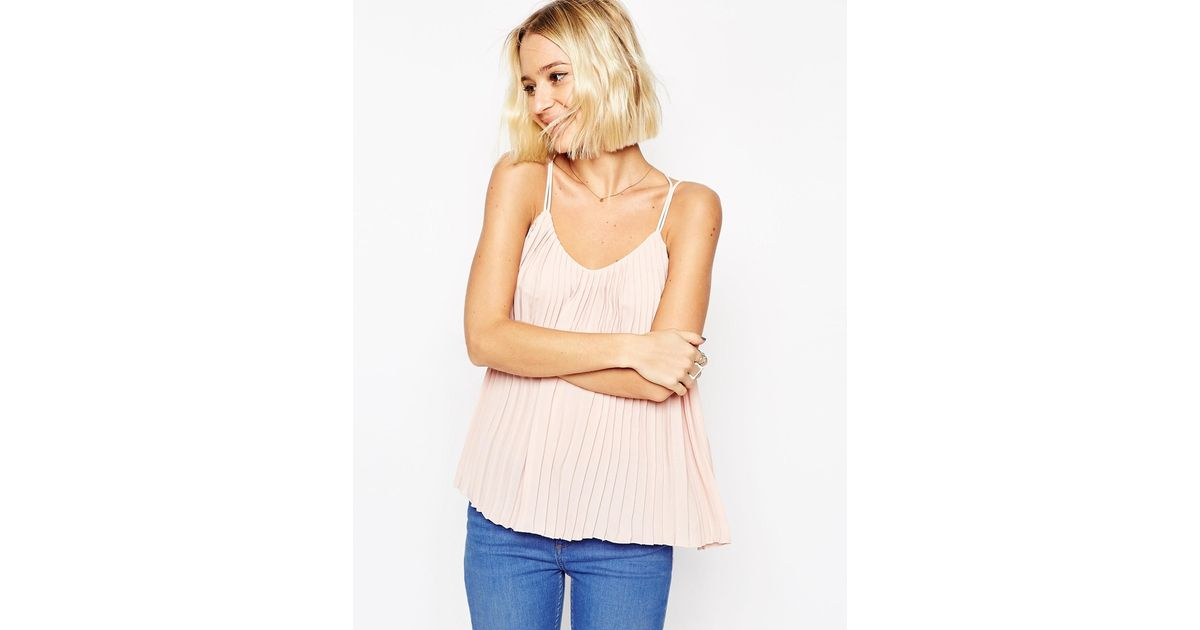 e4d4cf497b242 Lyst - ASOS Plunge Neck Pleated Cami Top With Strappy Back in Pink