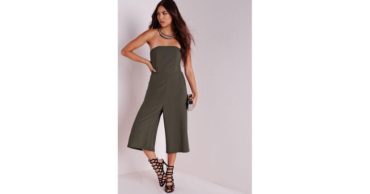 1af16ec1f723 Lyst - Missguided Bandeau Culotte Jumpsuit Khaki in Natural