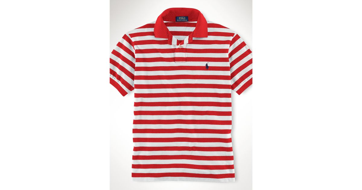 c579c563e59 ... new arrivals lyst polo ralph lauren custom fit striped polo shirt in red  for men d850e