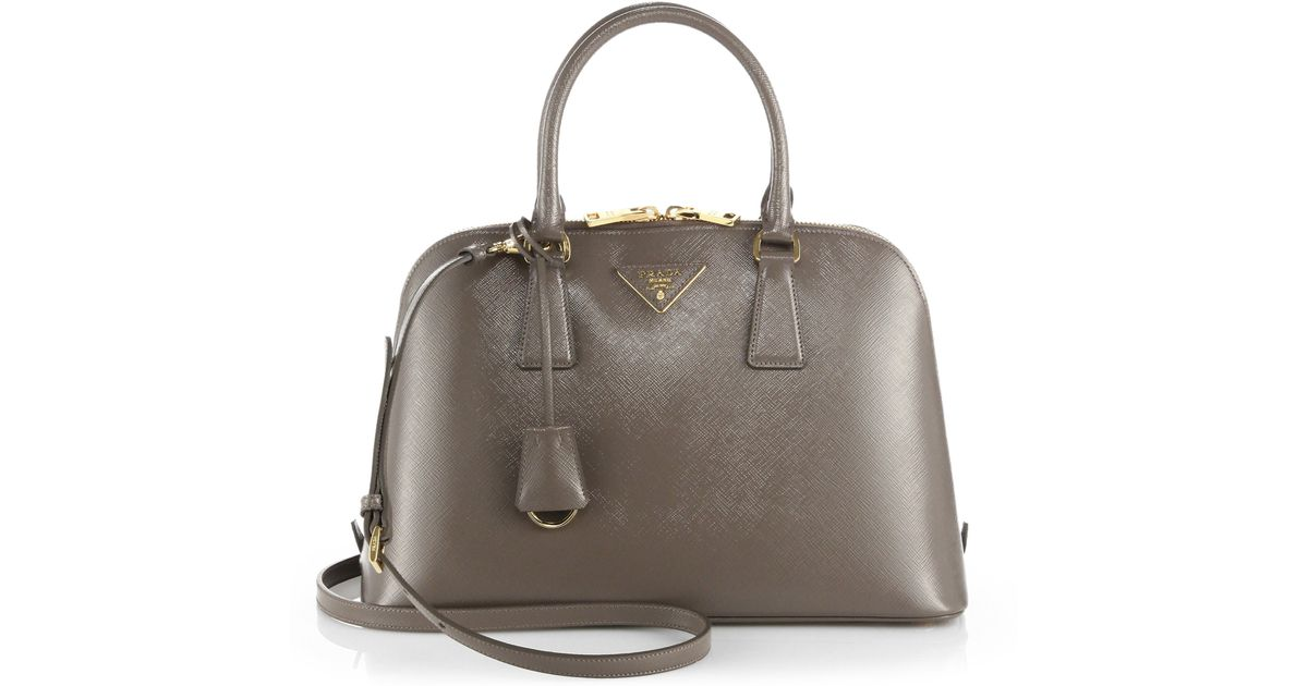571858e660e1 Prada Saffiano Bicolor Dome Bag in Gray - Lyst