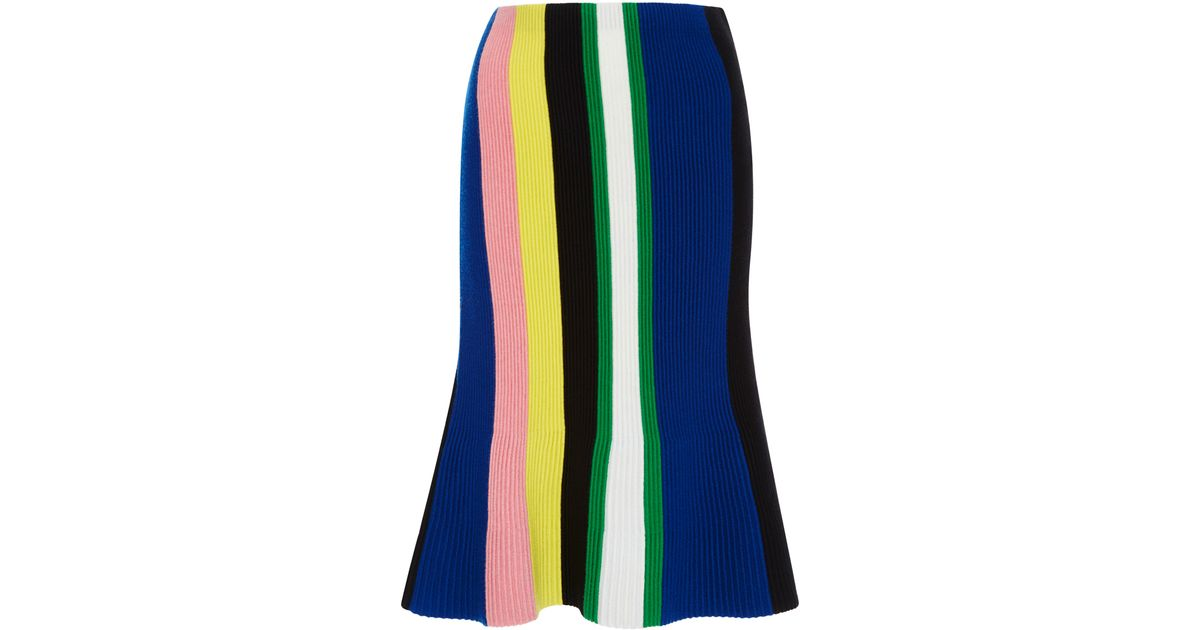 779a2a52d JW Anderson Ottoman Striped Knit Skirt in Blue - Lyst