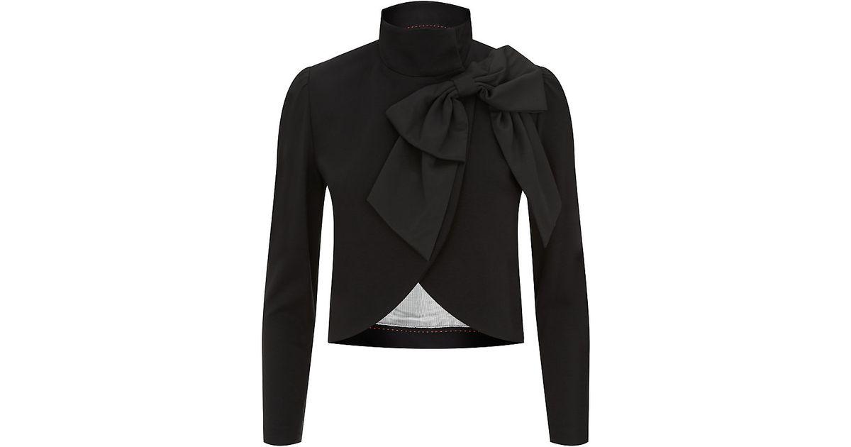 Alice Olivia Addison Bow Collar Cropped Jacket In Black