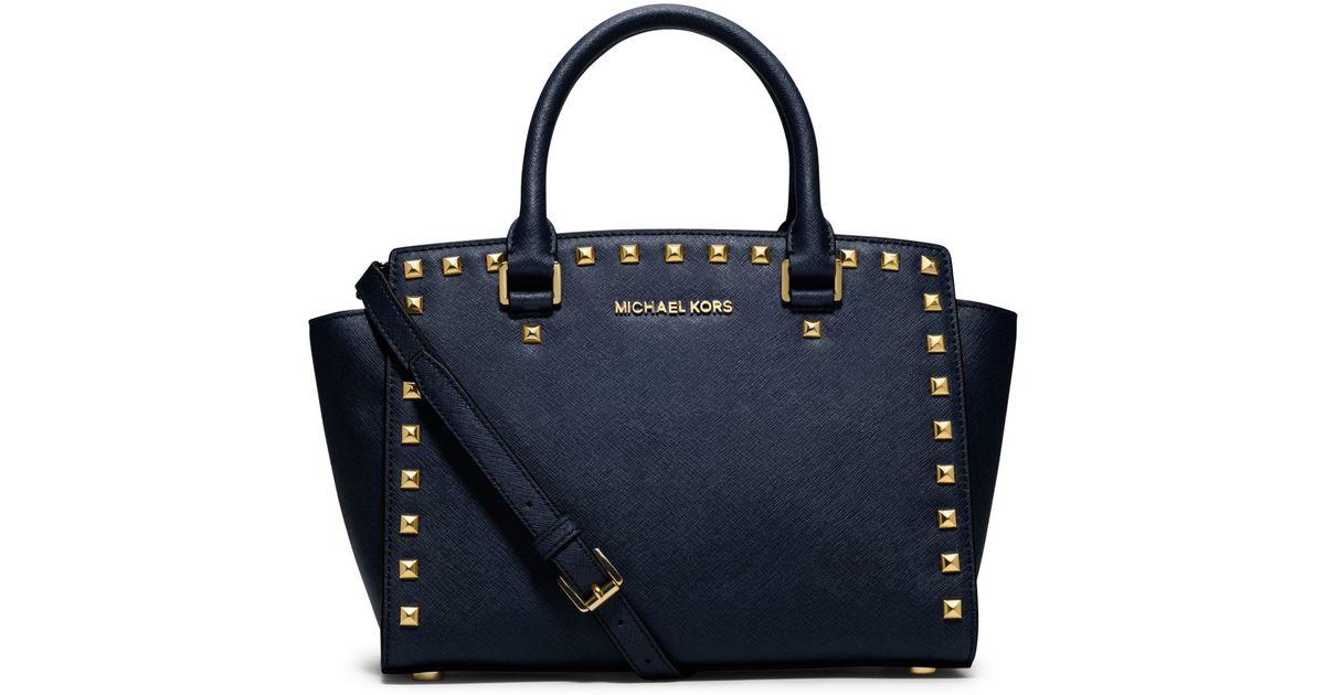 Michael Kors Selma Medium Laukku : Michael kors selma medium studded saffiano leather satchel
