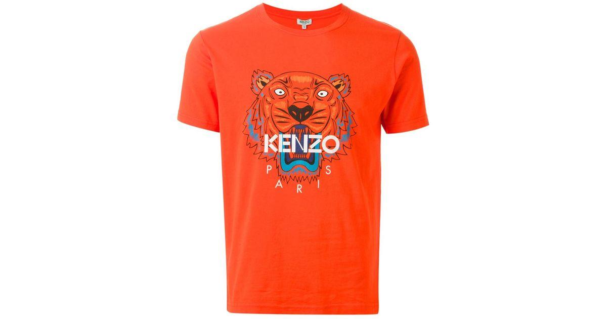 32fb0d650 KENZO 'tiger' T-shirt in Orange for Men - Lyst